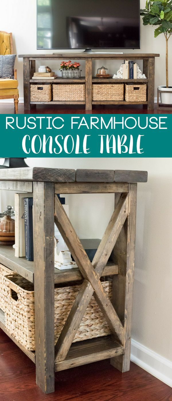 How to make a rustic farmhouse console table following a