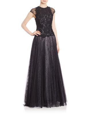 1035765f31f1 MONIQUE LHUILLIER Lace Bodice Full Gown.  moniquelhuillier  cloth  gown