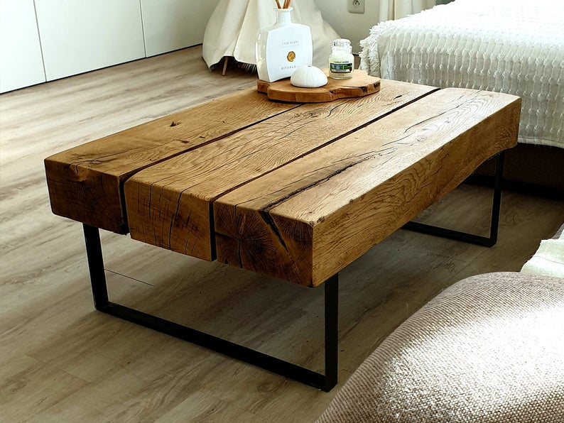 Table Basse Poutre En Chene Massif Etsy In 2020 Coffee Table Furniture First Apartment Tips