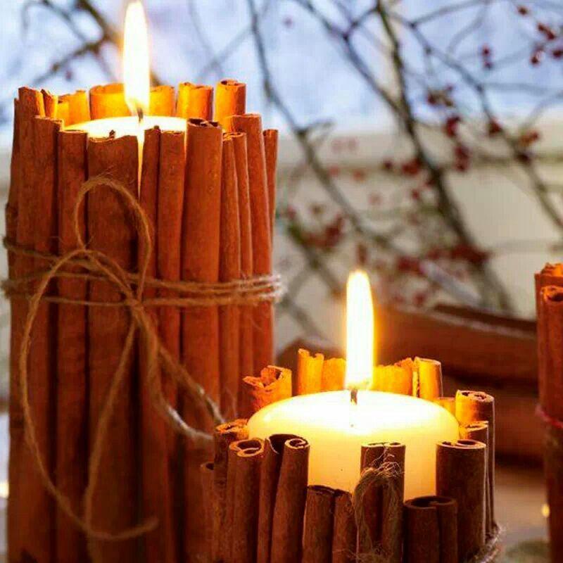 Velas forradas de canela por hacer pinterest canela - Como hacer velas en casa ...