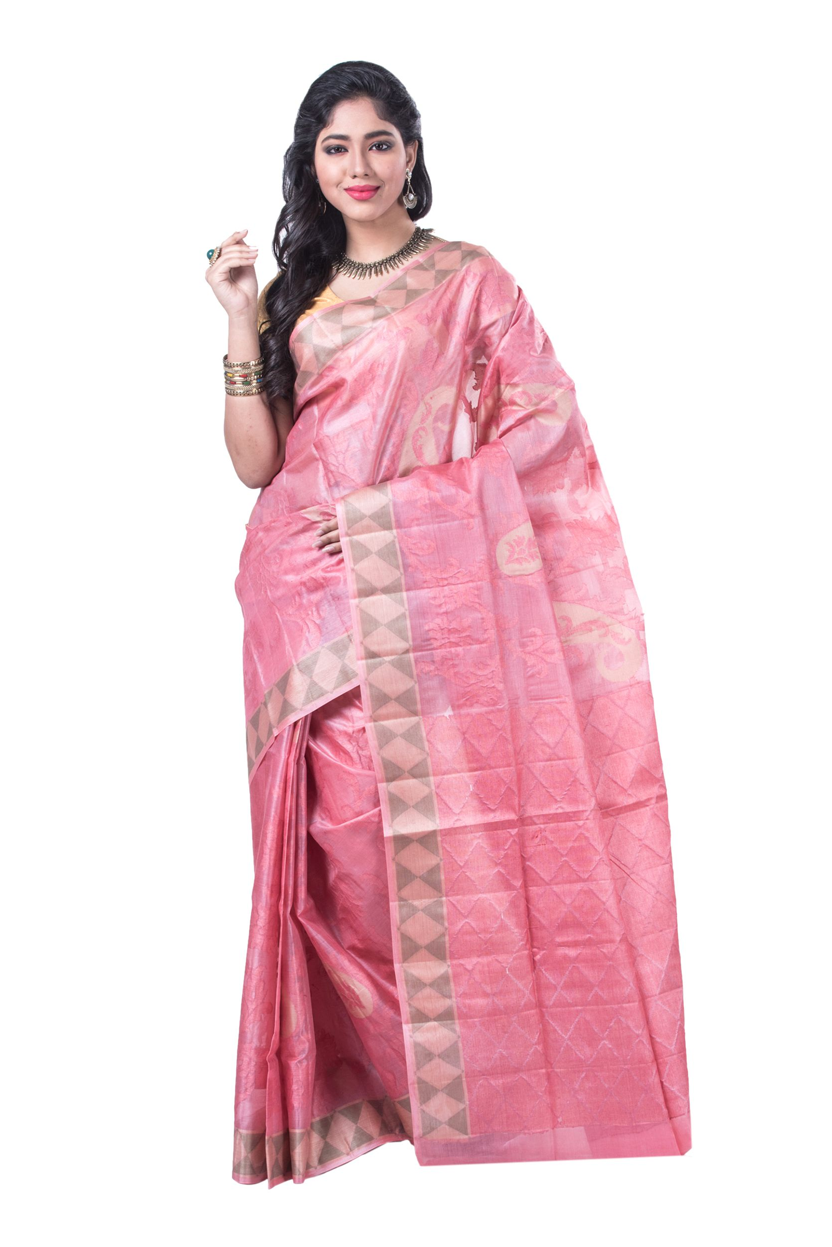 c47bf6dedda6a2 Buy Elegant Weaving Print on Pink and Grey  Pure  Tussar  Silk  Saree Online  at Low Prices in  India