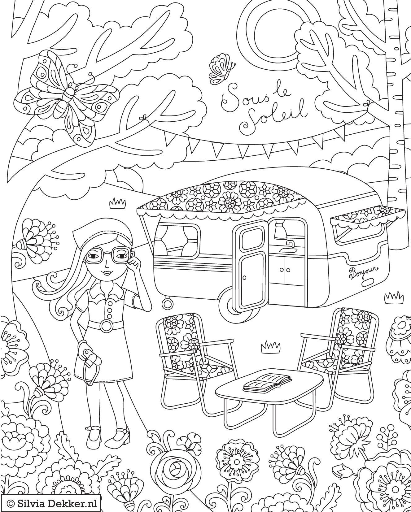 camping coloring page for flow magazine by silvia dekker - Camping Coloring Pages