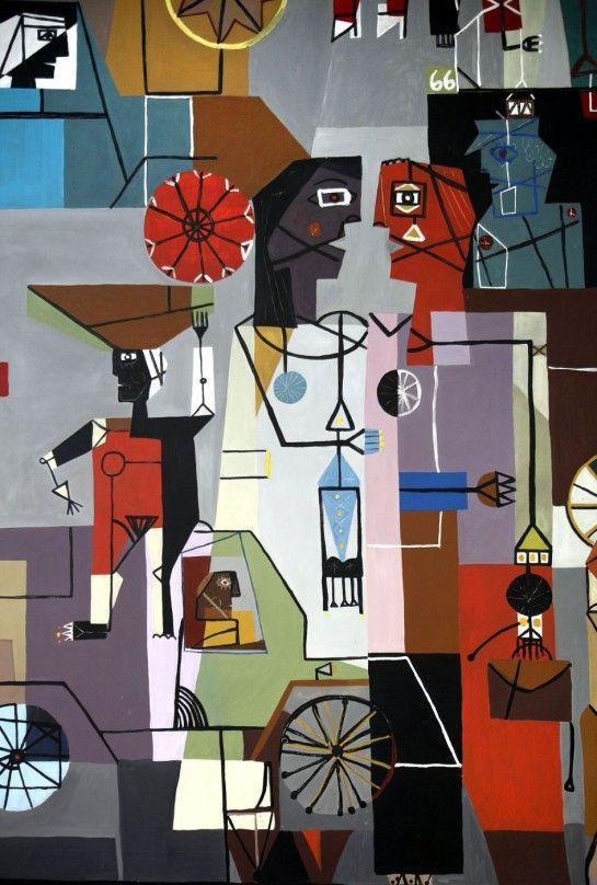 Detalle de un mural del artista uruguayo Carlos Páez Vilaró, en Montevideo (Uruguay). El mural que fue pintado hace más de medio siglo por Páez Vilaró, fue restaurado e inaugurado de nuevo este jueves como parte de los festejos por los 90 años del artista. El mural tiene una historia especial porque Páez Vilaró lo pintó en 1958 y recibió como paga un automóvil nuevo.