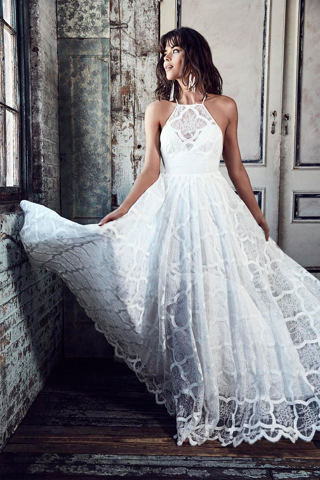 Lace halter wedding dress  HARRIET  wedding  Pinterest  Gowns Wedding dress and Lace