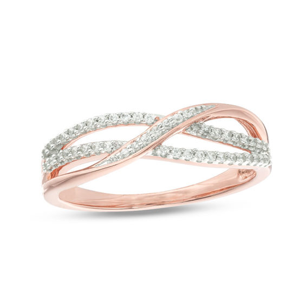 1 6 Ct T W Diamond Layered Crossover Anniversary Band In 10k Rose Gold Diamond Anniversary Bands Anniversary Bands Diamond Anniversary