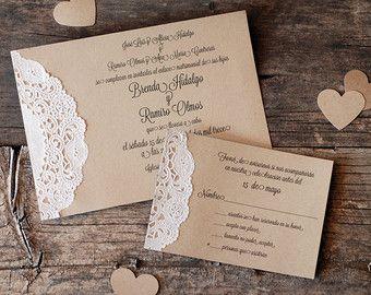Custom Vintage Lace Doily Wedding Invitation Suite