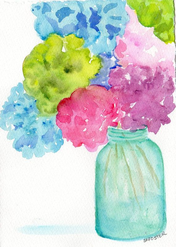 Hydrangea Original Watercolor Painting Hydrangeas In Aqua Mason Jar
