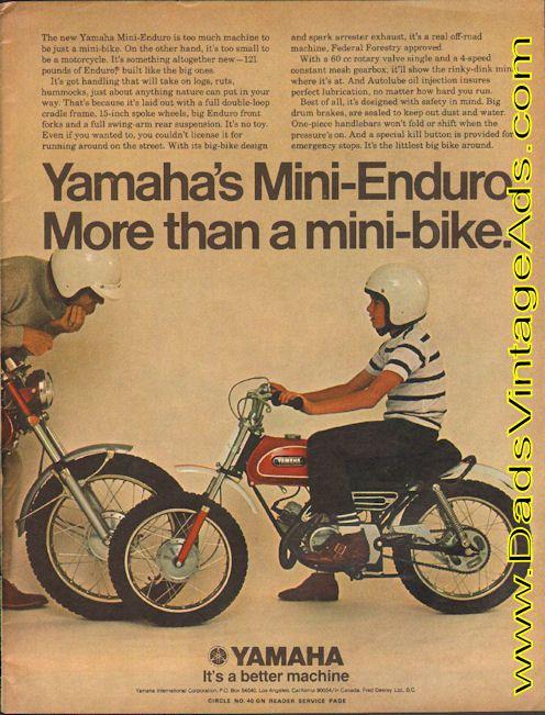1970 Yamaha Mini Enduro More Than A Mini Bike Mini Bike Yamaha Yamaha Bikes