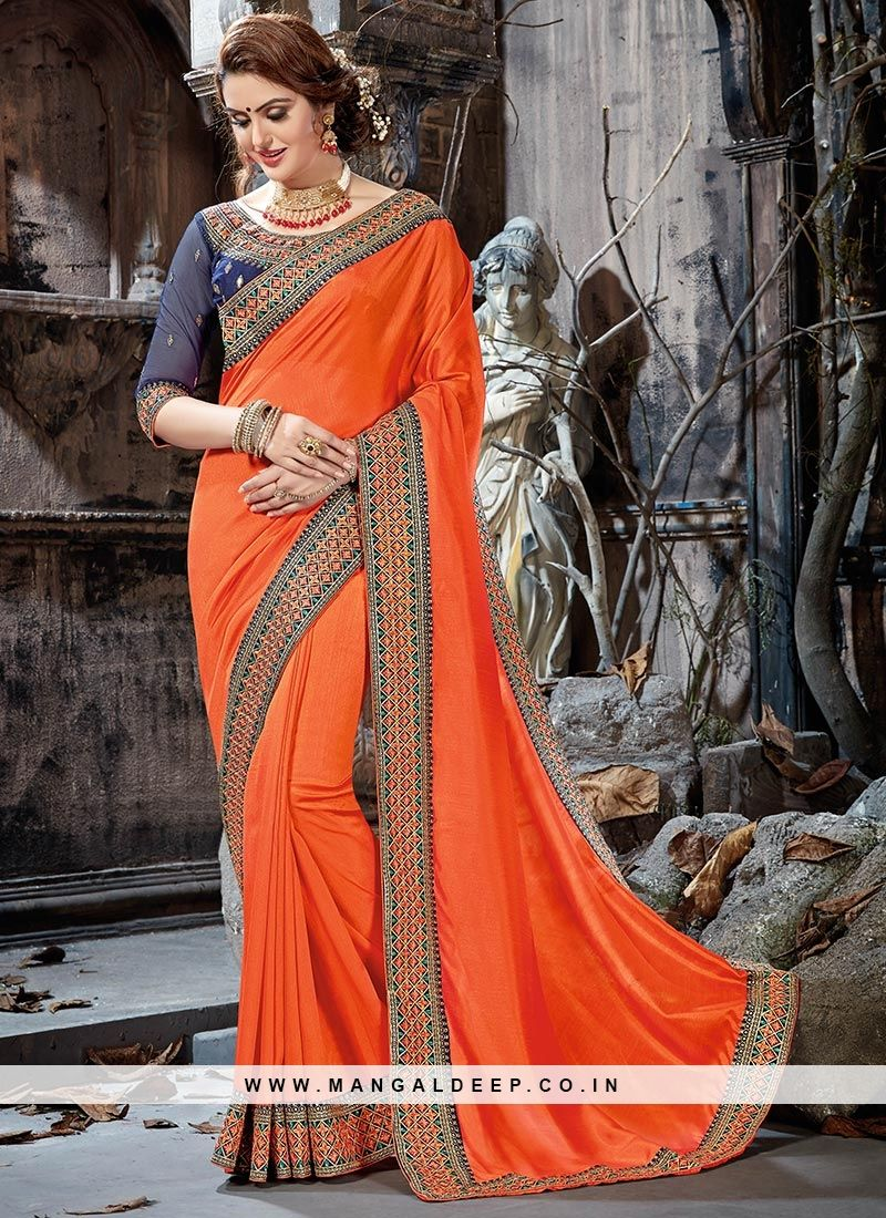 b8693573f9 Fabulous Orange Color Party Wear Embroidered Saree #orange #saree ...