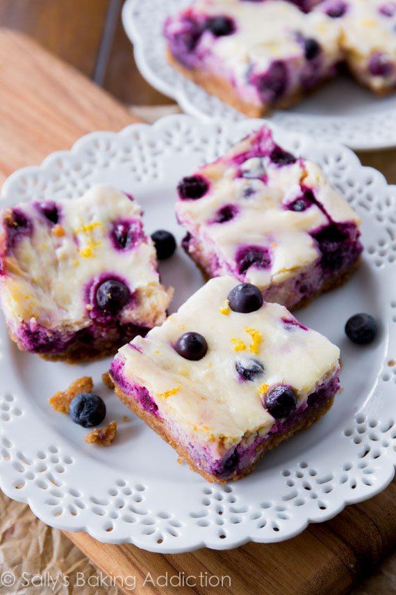 Lemon Blueberry Cheesecake Bars | Sally's Baking Addiction #lemonblueberrycheesecake