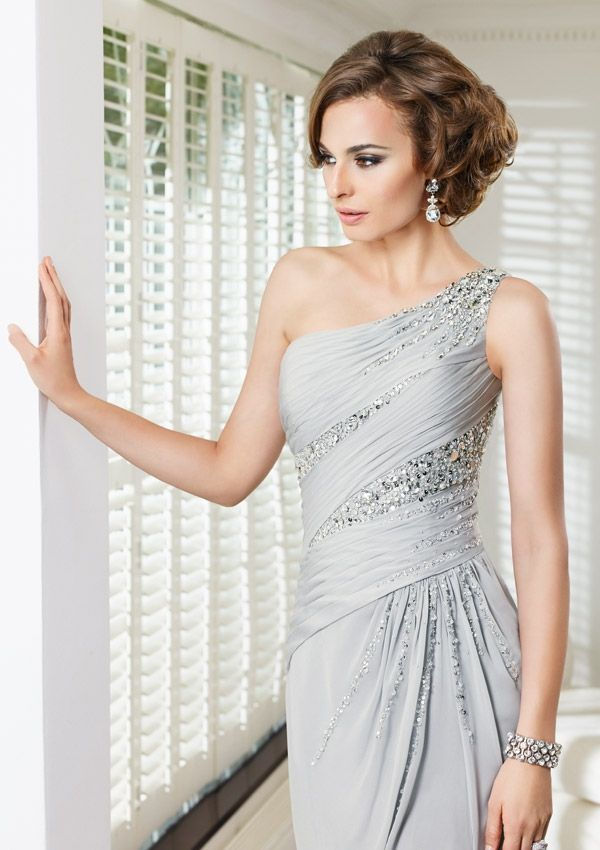 70909 Evening Gowns / Dresses 70909 Chiffon Dress and Caplet-Silver ...