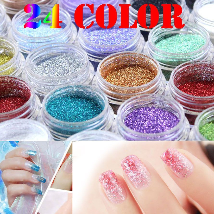 24 Color Free Choice Optional Metal Polvere Glitter Nail Art Tool