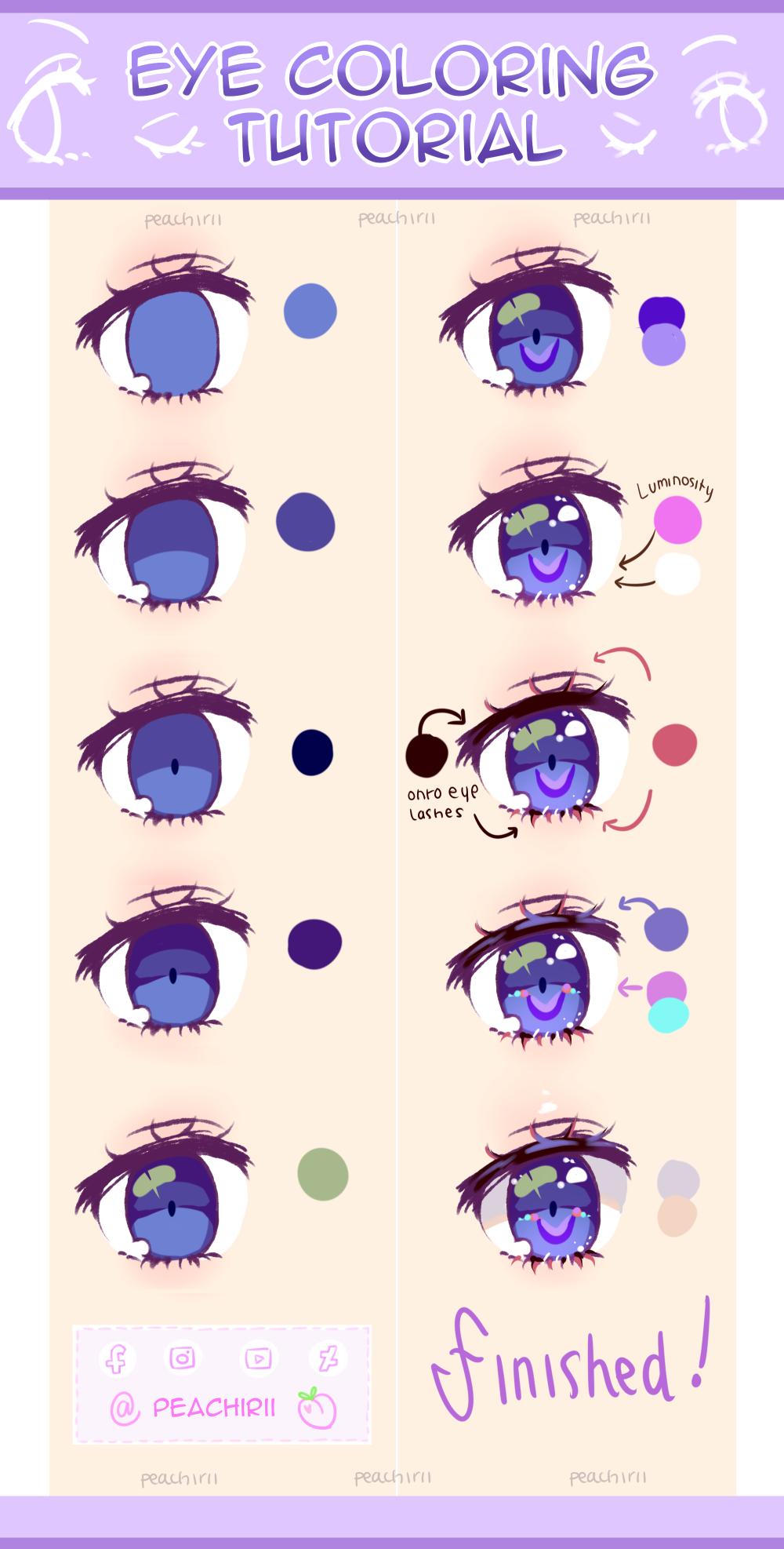 Eye Coloring Tutorial By Peachirii On Deviantart In 2020 Eye Drawing Tutorials Anime Eye Drawing Anime Drawings Tutorials
