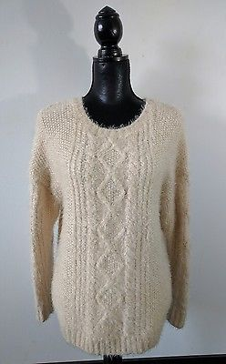 Aritzia Wilfred Fuzzy Pullover Sweater S Cream White Knit Top ...