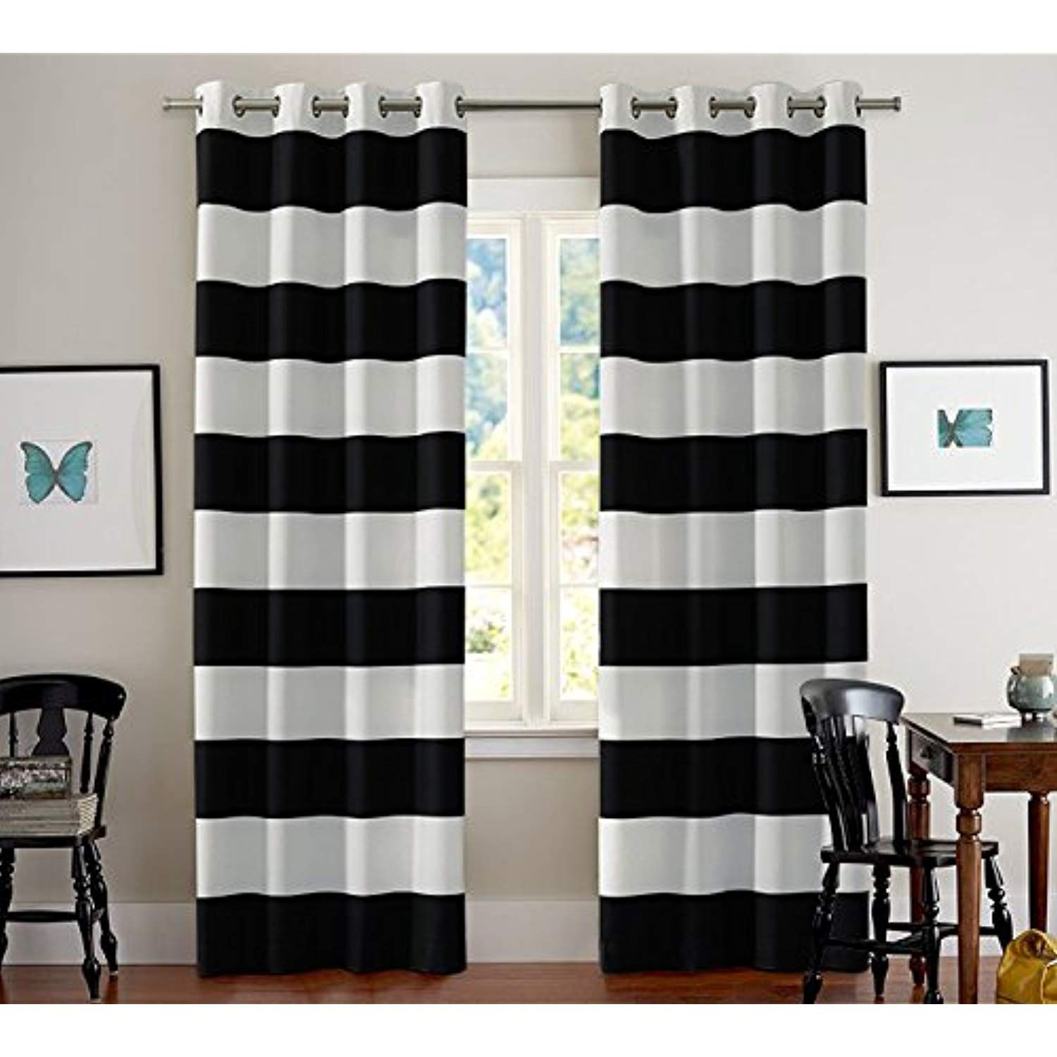 Turquoize Black And White Stripes Curtain Panels Grommet Thermal Insulated Blackout Window Treatment Panel Black White Curtains Striped Curtains Black Curtains