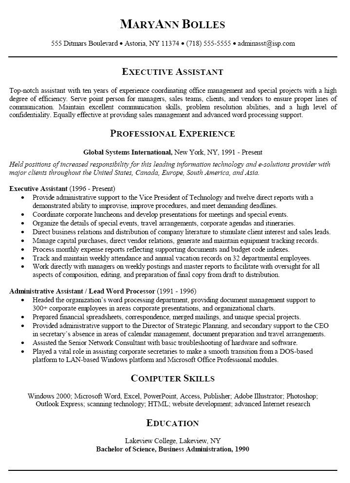 Administrative Assistant Resume Summary