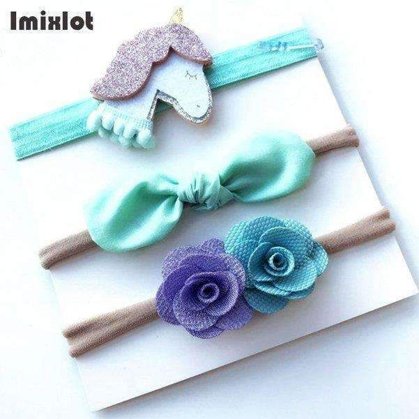 3pcs/set Mix Style Simulated-pearl Ribbon Lace Flower Headband Baby Girl Headbands Elastic Hairband Children Hair Accessories #kidshairaccessories