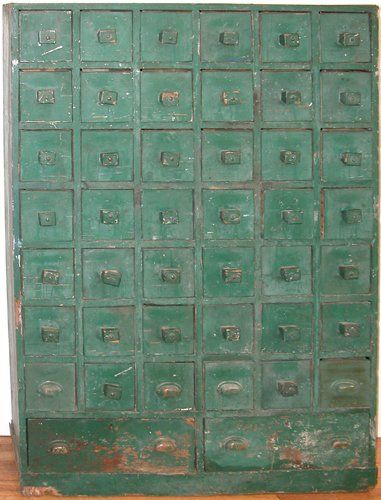 Apothecary Cabinet W/ 44 Drawers In Original Green