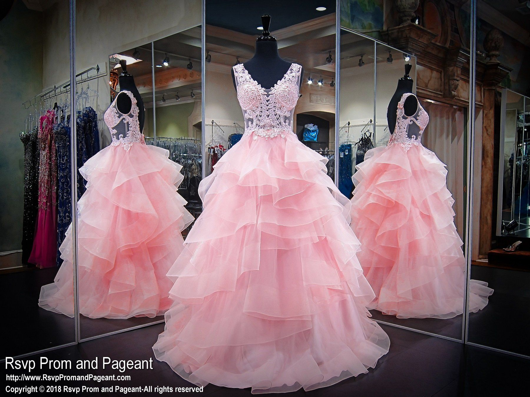 Pale Pink Sleeveless Ruffled Ball Gown Prom Dress | bellos ...