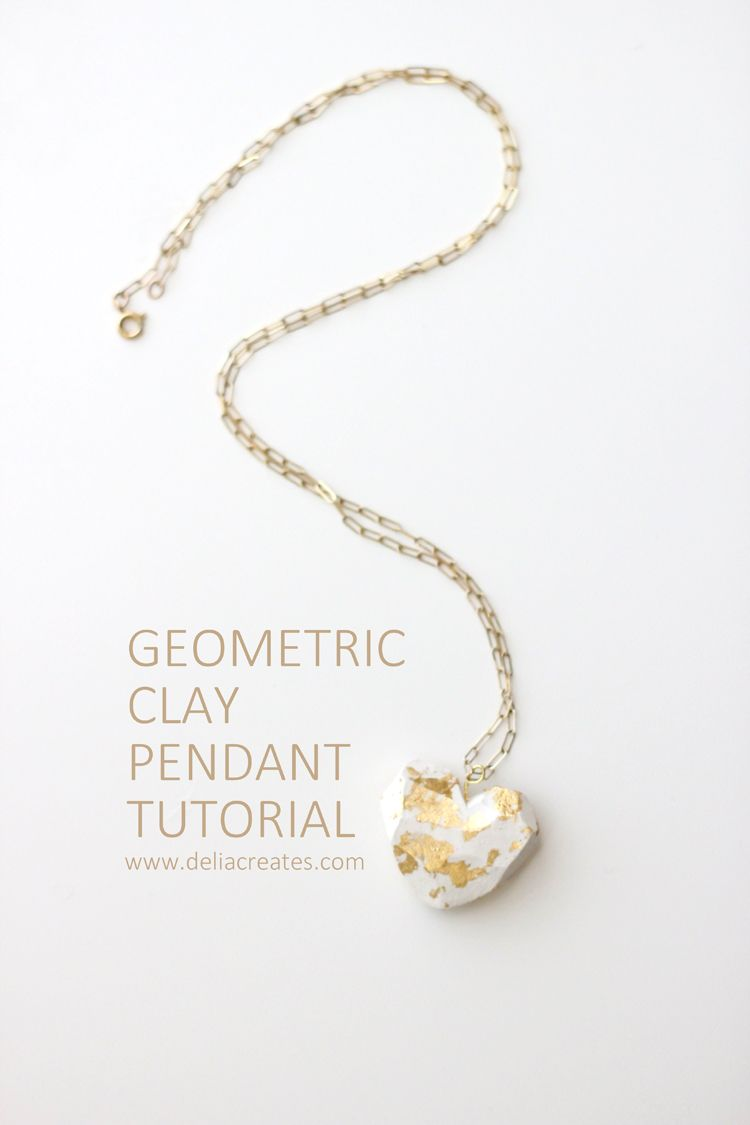 DIY Geometric Gilded Pendant From Clay