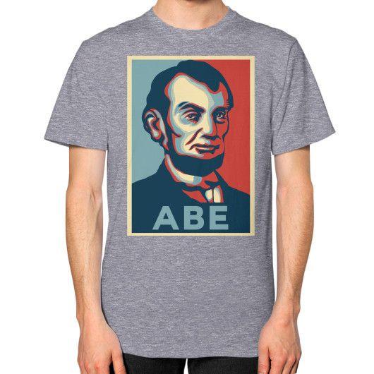 """ABE LINCOLN ""HOPE"" DESIGN"" UNISEX T-SHIRT (Color : Tri-Blend Grey) - By Gordons Wear"