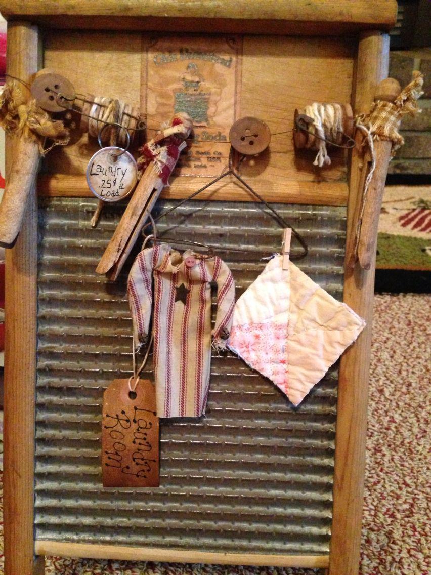 Primitive wash board I decorated up. | Prim Loves | Pinterest | Wash ...