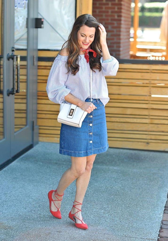 d0d07394a Denim Skirt Outfit Idea - Peaches In A Pod blog | Fashion ...