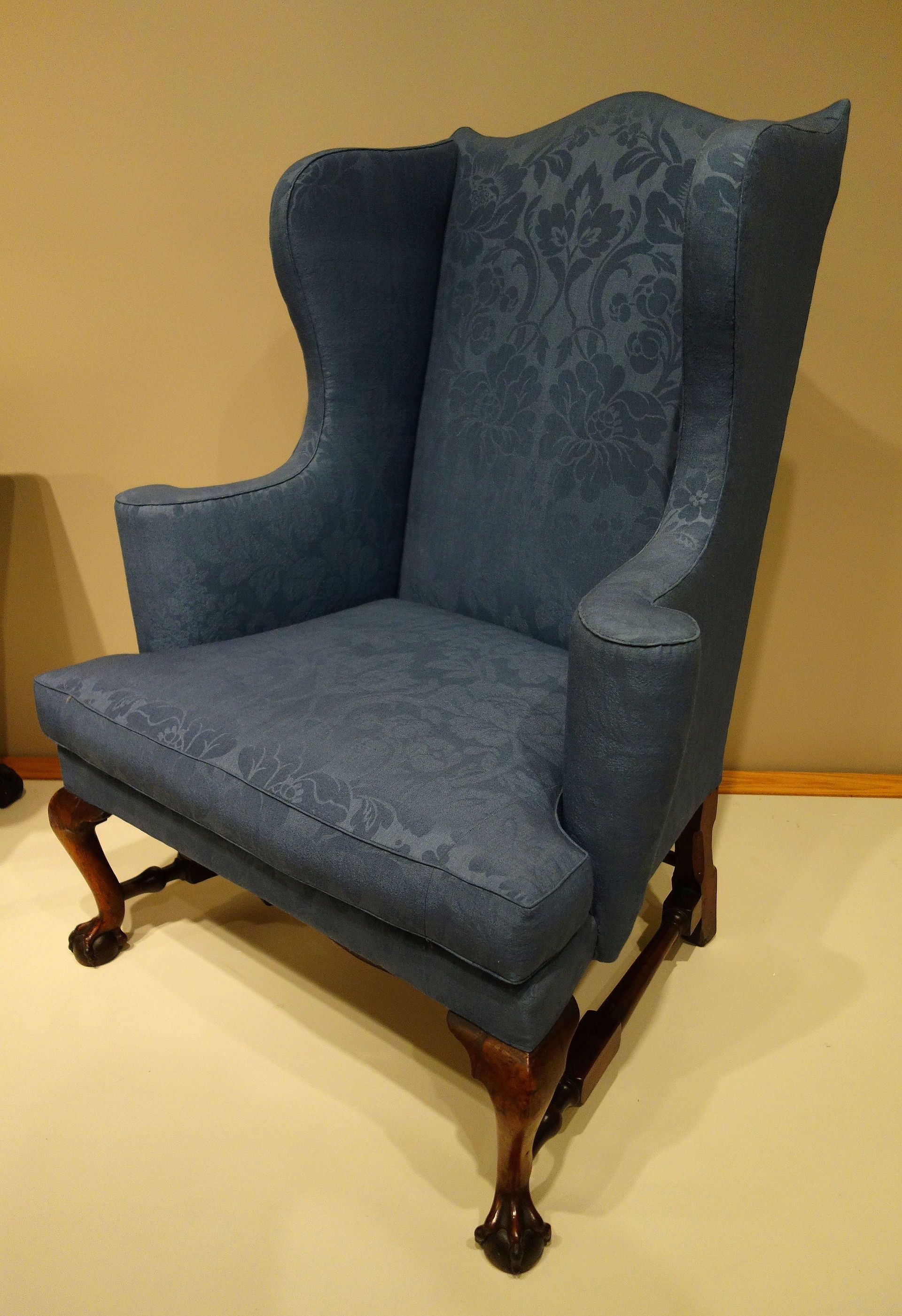 """""""Wing Chair"""" - Easy chair, probably Boston, Massachusetts, 1760-1780, mahogany, soft maple, reproduction wool upholstery"""