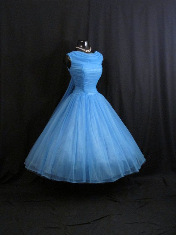 Vintage 50\'s 50s Sky BLUE Ruched Chiffon Organza Party PROM Wedding ...