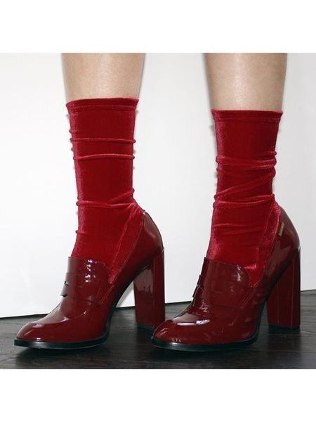 Darner Scarlet Red Velvet Socks