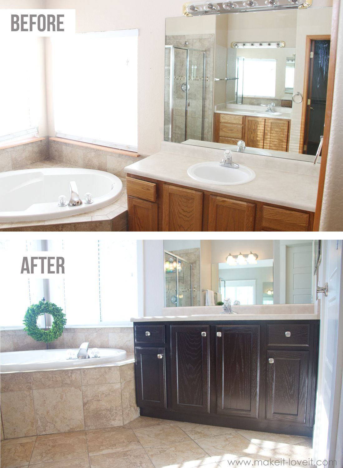 Kitchen Vanities Tiny House Kitchens How You Can Stain Oak Cabinets And Bathroom To The Simple Method No Sanding Necessary Via Make It Love