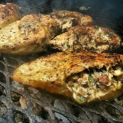 Cajun grilled chicken breast stuffed with crabmeat for Stuffed fish with crab meat