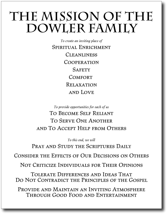 Family mission statement template I like the format they used – Safety Statement Template