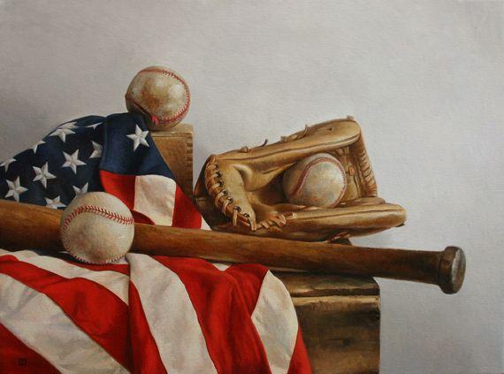 Happy 4th Of July American Flag Baseballs Bat And A Mitt Painting By Chris Thornock Illustration Artwork Art Artwork