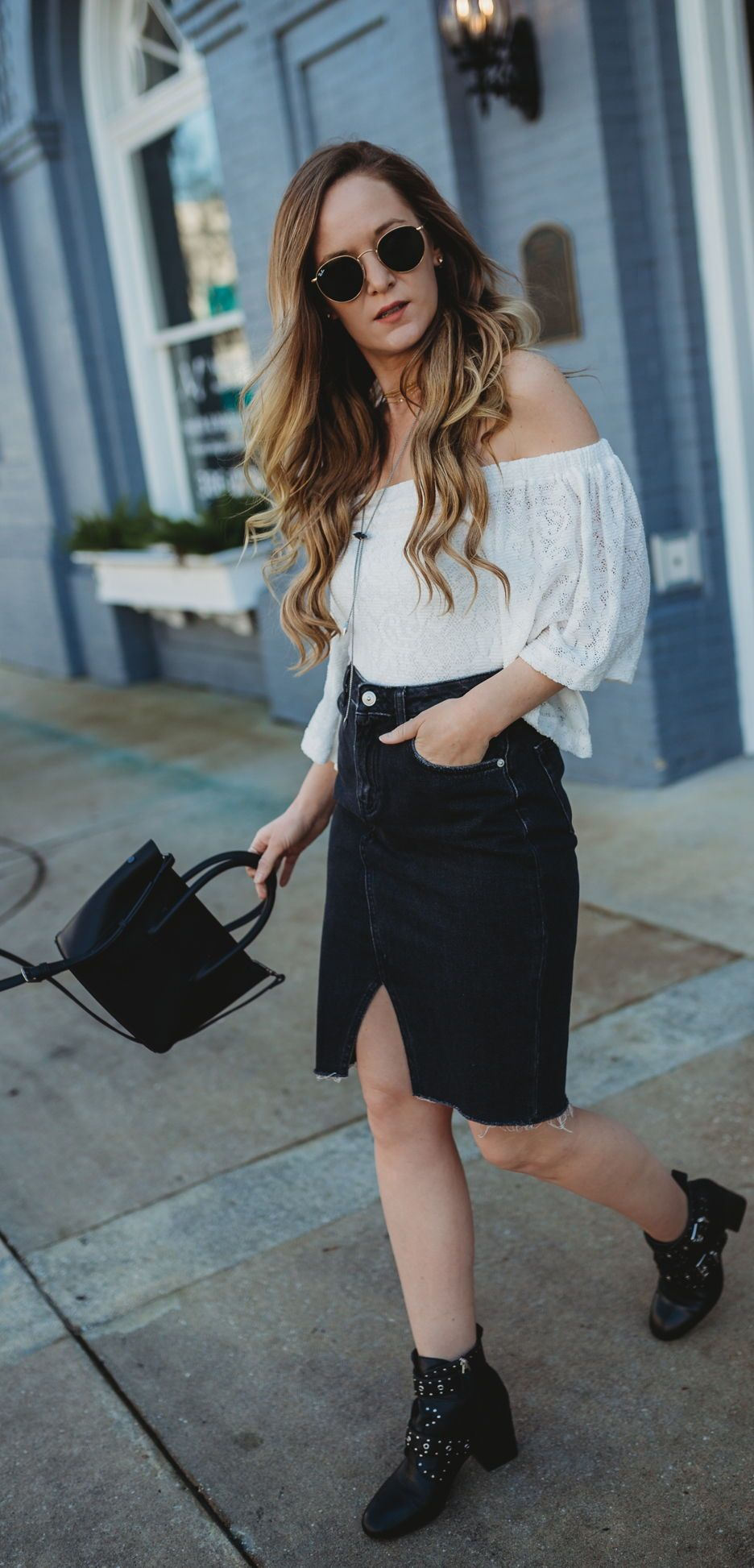 8e8a1235b Edgy black and white spring outfit styled with lace off the shoulder top,  denim pencil skirt, and studded ankle booties #edgyoutfit #studdedbooties  ...