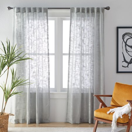 Modrn Naturals Open Weave Curtain Panel Pair Walmart Com Panel Curtains Grey Curtains Living Room Curtains