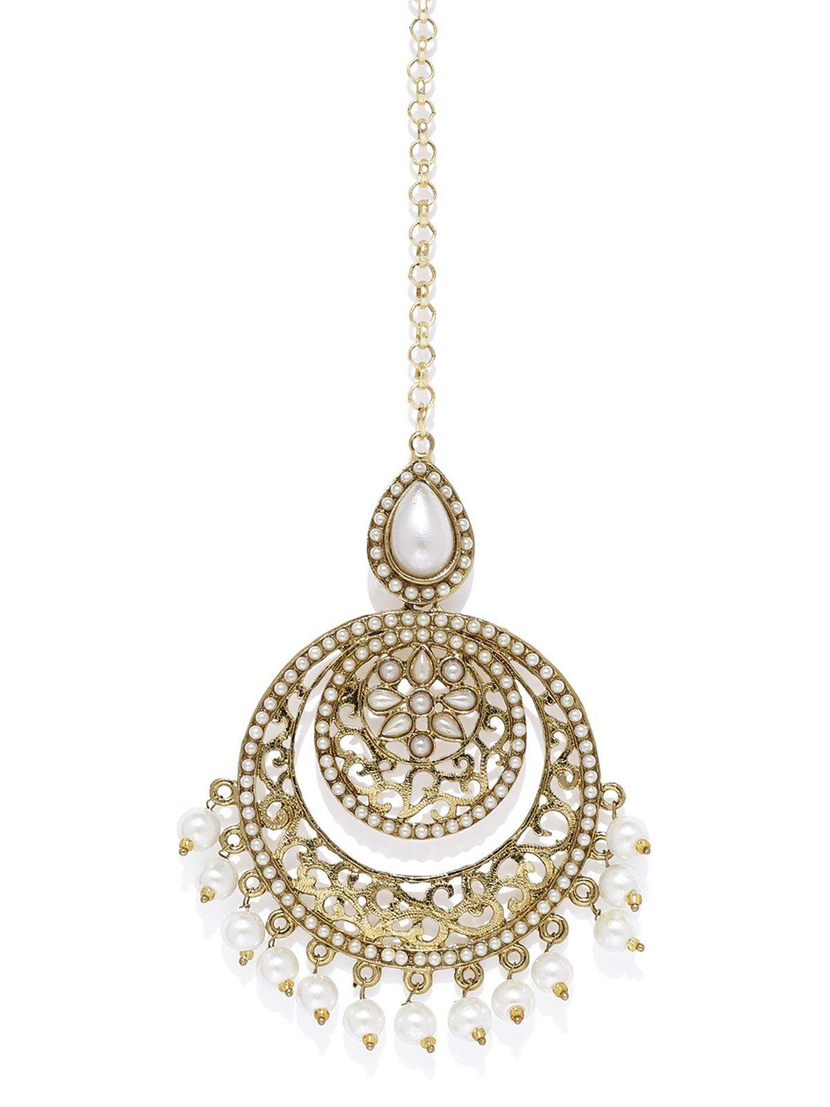 Antique Gold Tone Pearls Traditional Maang Tikka Zaveri Pearls