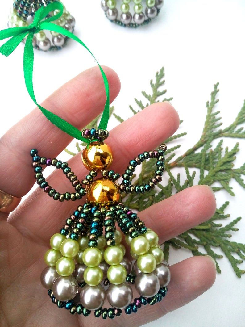 Beaded Angel Tutorial Standing Angel Ornament Beading Pattern How To Make Beaded Angel Beaded Ornament Pattern Homemade Gift Beaded Angels Beaded Christmas Decorations Beaded Ornaments Diy