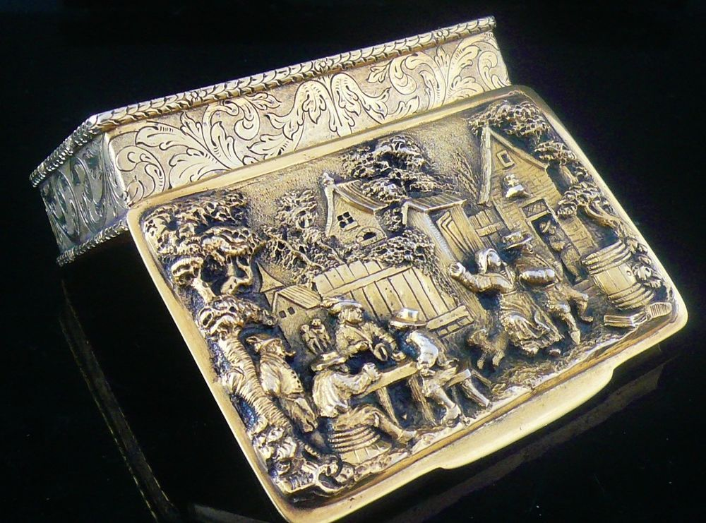 Portuguese Silver Gilt Snuff Box by Pedro Batista of Porto