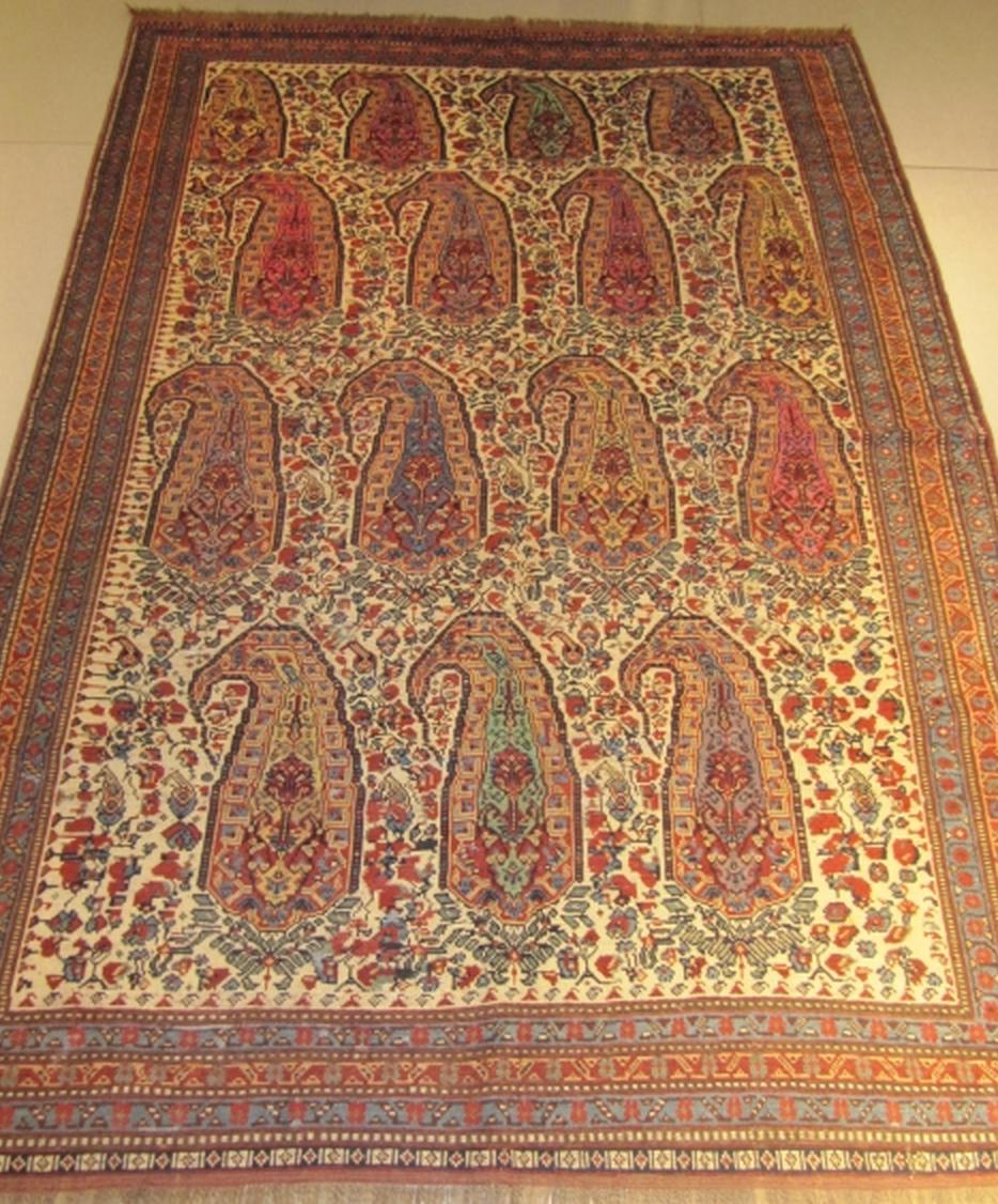 Khamseh Persian antique rug 19th century Boteh design Nalbandian S.a.l. Beirut, Lebanon