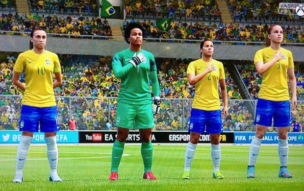 Marta, Luciana, Fabiana e Mônica: algumas das jogadoras da seleção feminina do Brasil (Foto: G1)