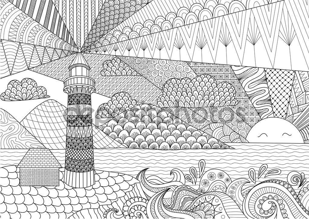 Deniz Manzarası Hat Sanat Tasarım Kitap Için Yetişkin Renklendirme