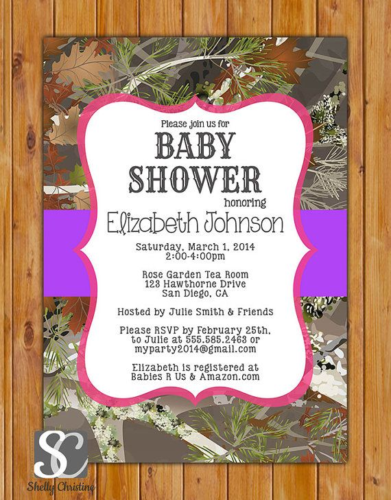 Camouflage hunting girl baby shower invite pink purple party mossy oak camo hot pink and purple baby girl shower personalized party invitation camouflage girls invite hunter digital jpg 5x7 162 filmwisefo