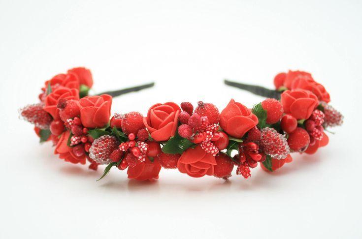 Blume Haar Krone Braut rustikale Krone Blume Kopfschmuck rote Blume Haarteil Boho ... - #Blume #Boho #braut #Haar #Haarteil #Kopfschmuck #Krone #rote #rustikale #brautblume