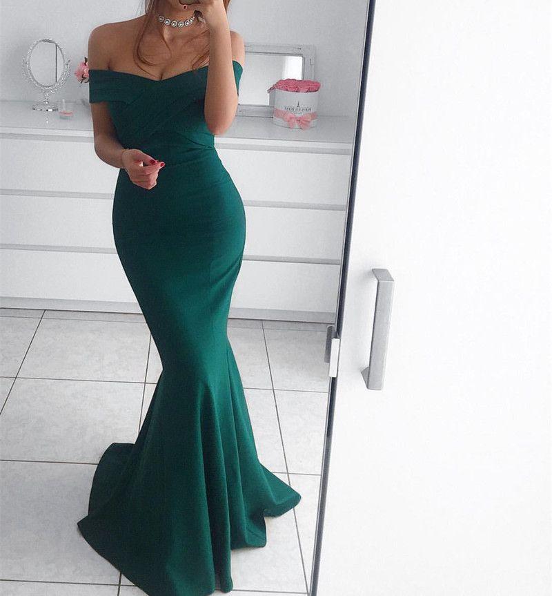 Hunter Green Prom Dressmermaid Prom Dressoff The Shoulder Evening