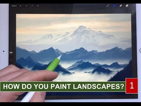 (11) HOW TO PAINT REALISTIC LANDSCAPE 1 Mountains in the