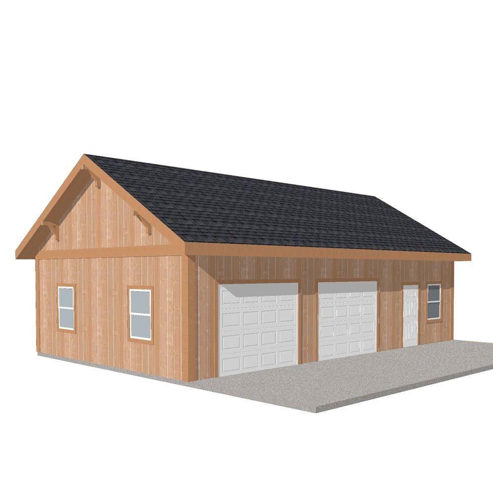 Workshop 40 ft. x 24 ft. Engineered Permit-Ready Wood Garage ...
