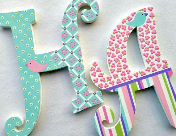 Cartas adolescentes letras de madera letras infantiles por poshdots mdf letras letras de - Letras decoradas infantiles ...