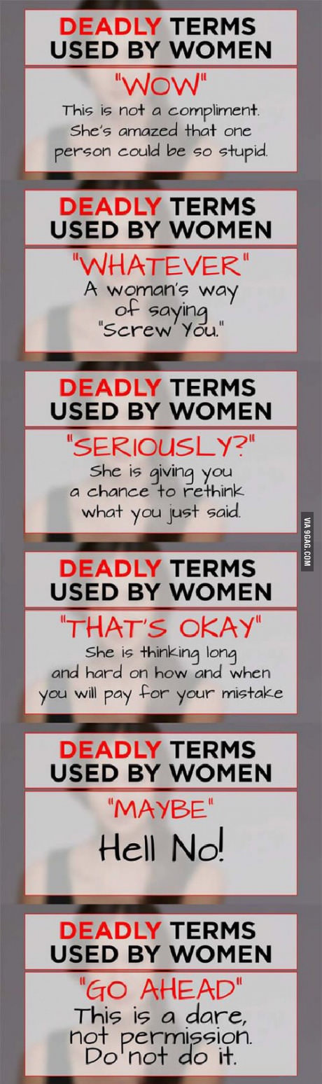 Extremely Deadly Terms Used By Women