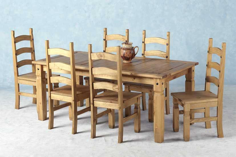 Corona Mexican Pine Dining Set 70 Inch Table 6 Chairs Pinechairs
